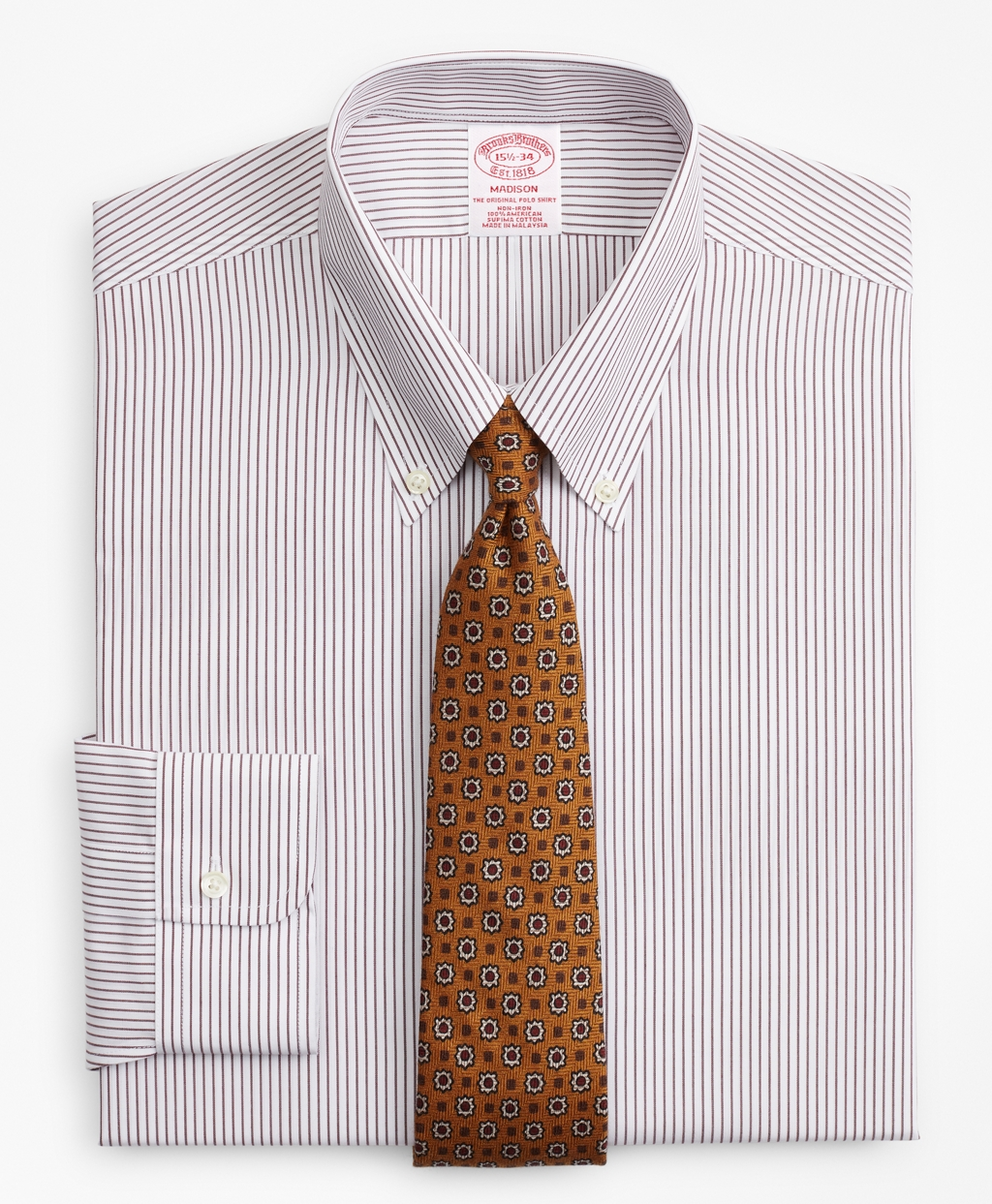 1920s Style Men's Shirts | Peaky Blinders Shirts and Collars Brooks Brothers Mens Regular Classic-Fit Dress Shirt Non-Iron Stripe $79.00 AT vintagedancer.com