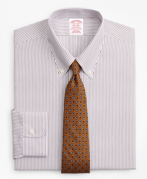 Traditional Relaxed-Fit Dress Shirt, Non-Iron Stripe Fig