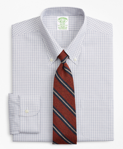Stretch Milano Slim-Fit Dress Shirt, Non-Iron Grid Check