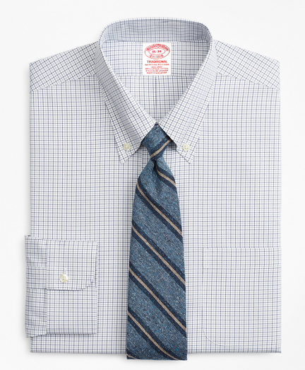 Traditional Extra-Relaxed-Fit Dress Shirt, Non-Iron Grid Check