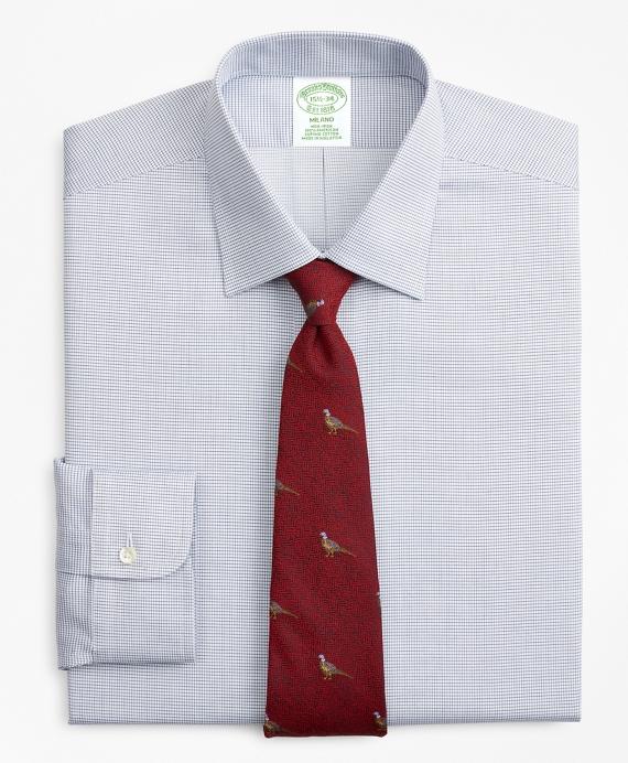 Milano Slim-Fit Dress Shirt, Non-Iron Micro-Check Navy