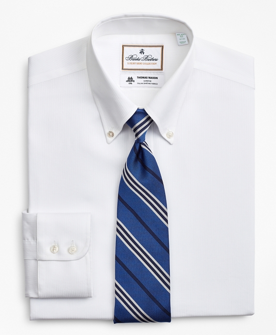 Luxury Collection Milano Slim-Fit Dress Shirt, Button-Down Collar Self-Stripe White