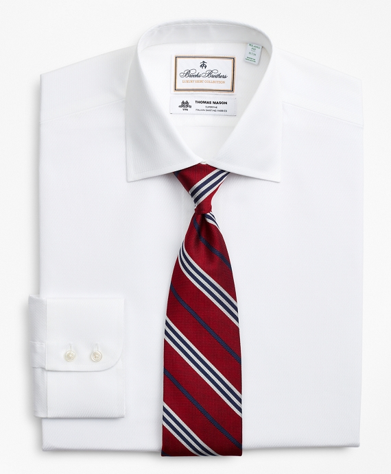 Luxury Collection Milano Slim-Fit Dress Shirt, Franklin Spread Collar Fine Stripe White