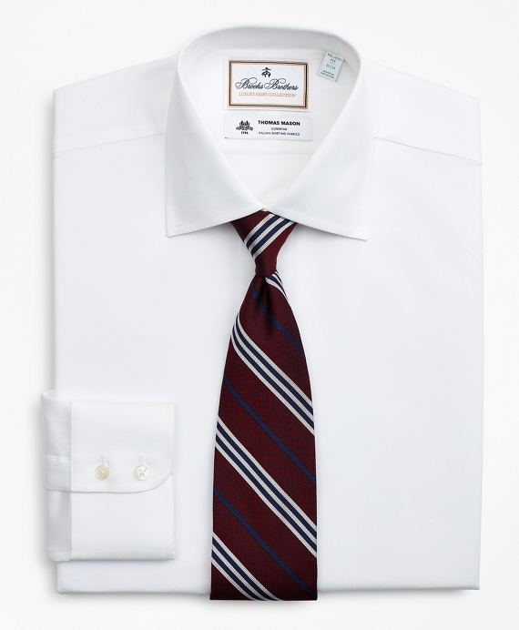 Luxury Collection Milano Slim-Fit Dress Shirt, Franklin Spread Collar Pique White
