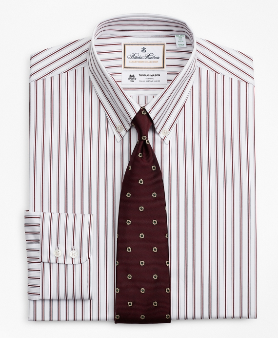 Luxury Collection Madison Relaxed-Fit Dress Shirt, Button-Down Collar Stripe Burgundy