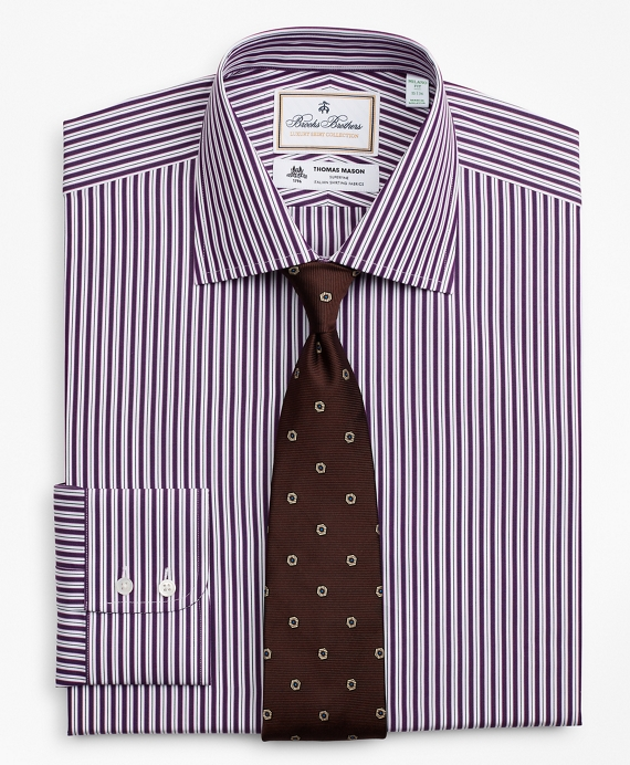 Luxury Collection Madison Classic-Fit Dress Shirt, Franklin Spread Collar Double-Stripe Purple