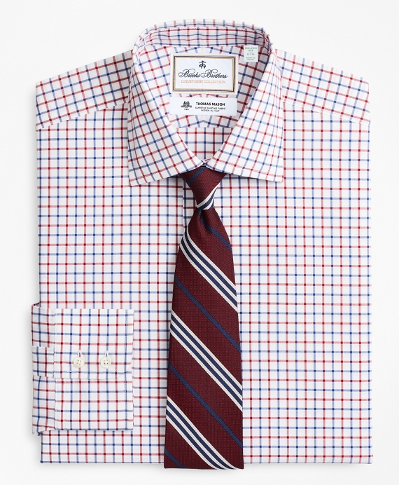 Luxury Collection Milano Slim-Fit Dress Shirt, Franklin Spread Collar Bold Windowpane White