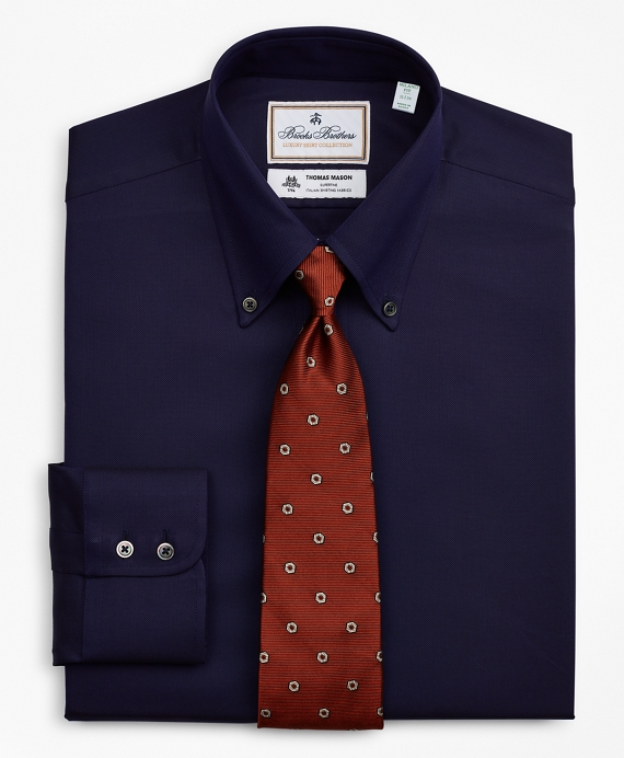 Luxury Collection Milano Slim-Fit Dress Shirt, Button-Down Collar Stripe Navy