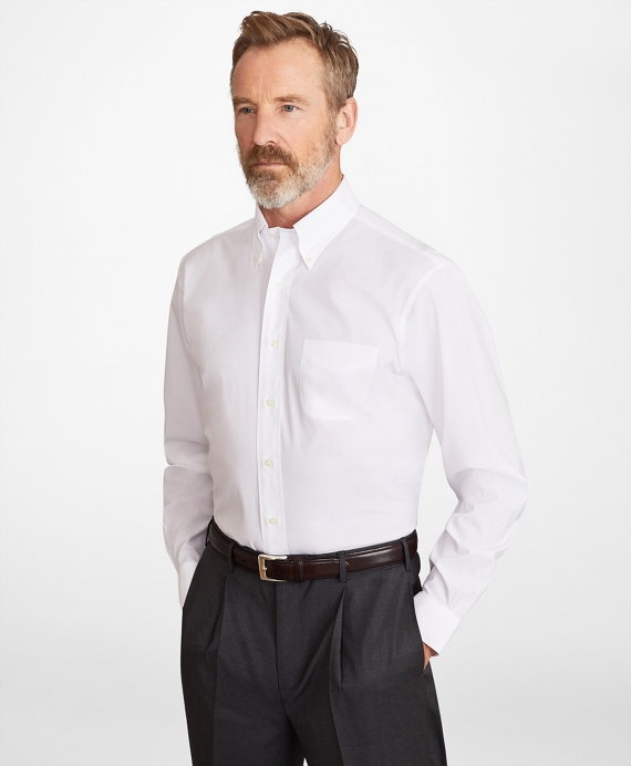 Madison Classic-Fit Dress Shirt, Performance Non-Iron with COOLMAX®, Button-Down Collar Broadcloth White