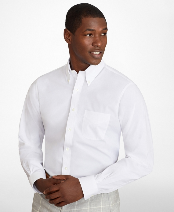 Regent Fitted Dress Shirt, Performance Non-Iron with COOLMAX®, Button-Down Collar Broadcloth White