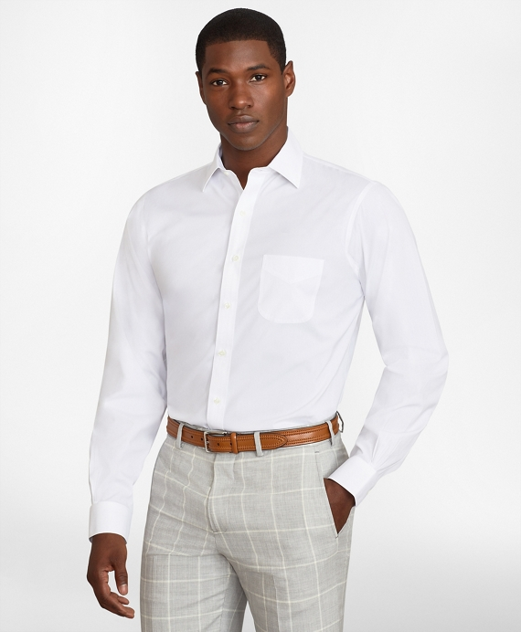 Regent Regular-Fit Dress Shirt, Performance Non-Iron with COOLMAX®, Ainsley Collar Broadcloth White