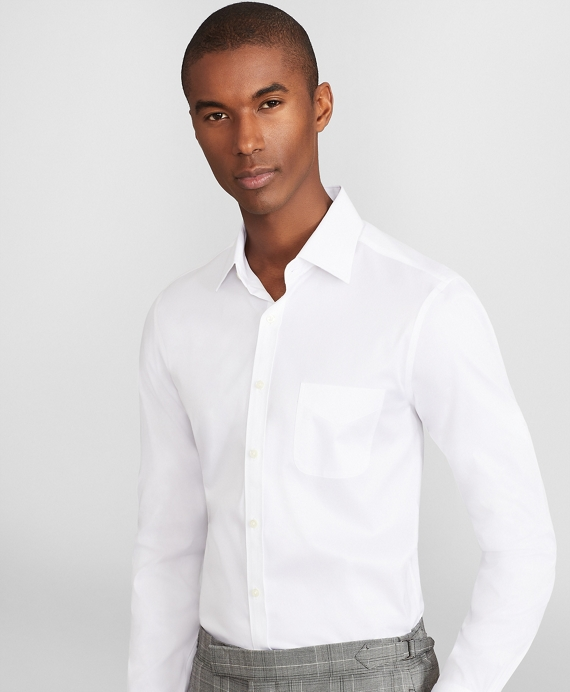 Soho Extra-Slim Fit Dress Shirt, Performance Non-Iron with COOLMAX®, Ainsley Collar Broadcloth White