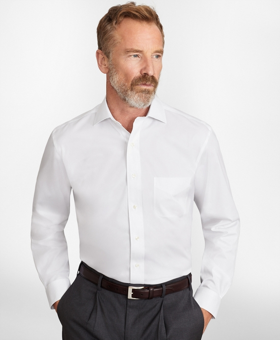 Madison Relaxed-Fit Dress Shirt, Performance Non-Iron with COOLMAX®, English Spread Collar Broadcloth White