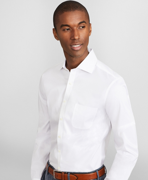 Soho Extra Slim Fit Dress Shirt, Performance Non Iron With Coolmax®, English Spread Collar Broadcloth by Brooks Brothers