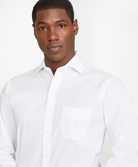 Regent Fitted Dress Shirt, Performance Non-Iron with COOLMAX®, English Spread Collar Broadcloth White