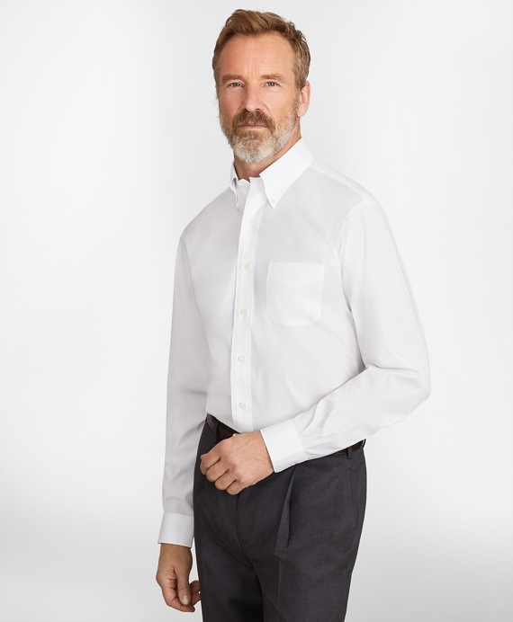 Madison Classic-Fit Dress Shirt, Performance Non-Iron with COOLMAX®, Button-Down Collar Twill White