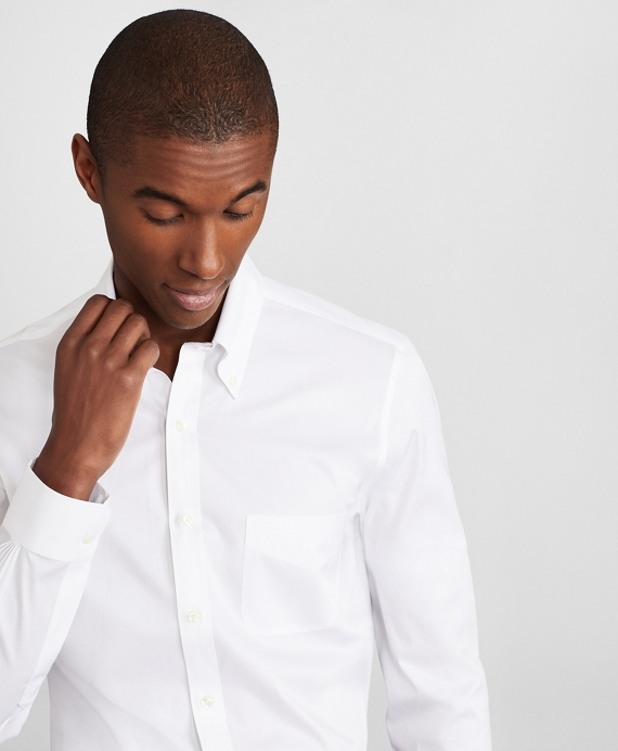 Milano Slim Fit Dress Shirt, Performance Non-Iron with COOLMAX®, Button-Down Collar Twill White