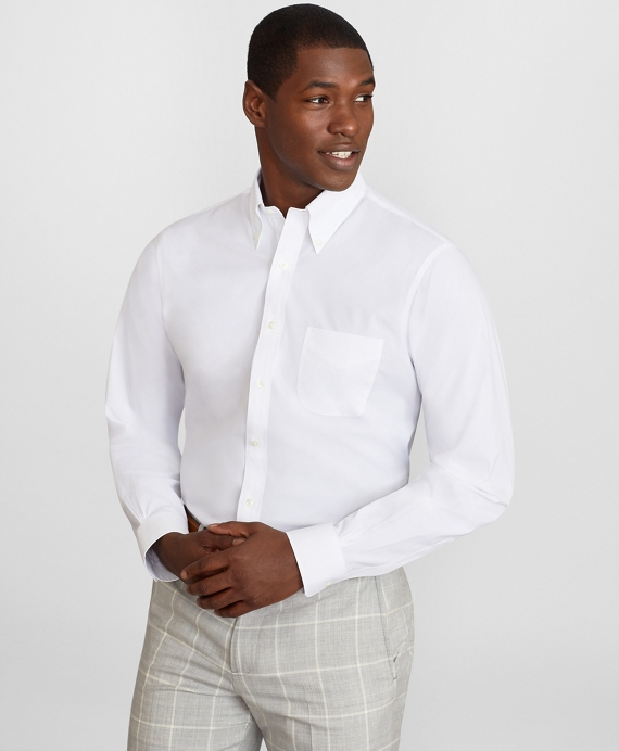 Regent Fitted Dress Shirt, Performance Non-Iron with COOLMAX®, Button-Down Collar Twill White