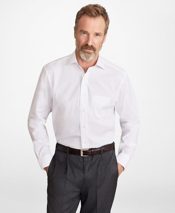 Madison Classic-Fit Dress Shirt, Performance Non-Iron with COOLMAX®, Ainsley Collar Twill White