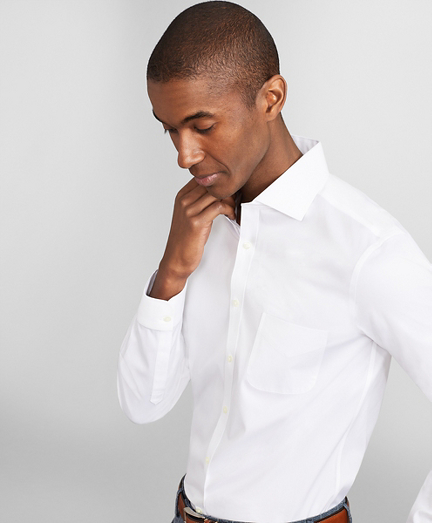 Milano Slim Fit Dress Shirt, Performance Non-Iron with COOLMAX®, English Spread Collar Twill