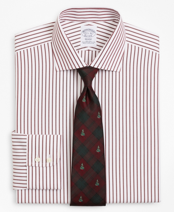 Regent Fitted Dress Shirt, Non-Iron Stripe Wine
