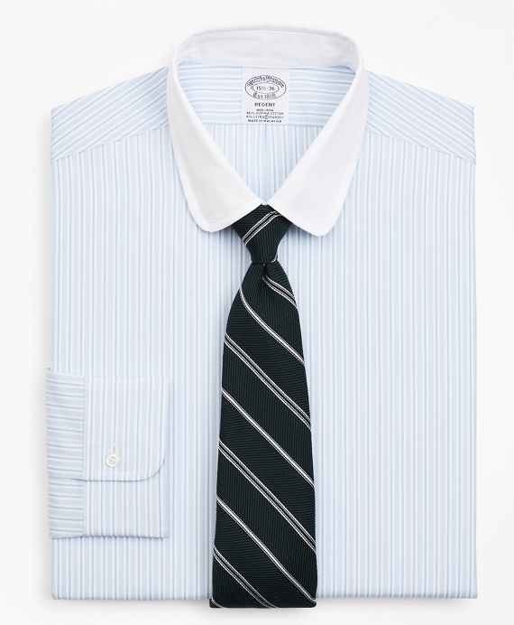 Stretch Regent Regular-Fit Dress Shirt, Stripe Blue