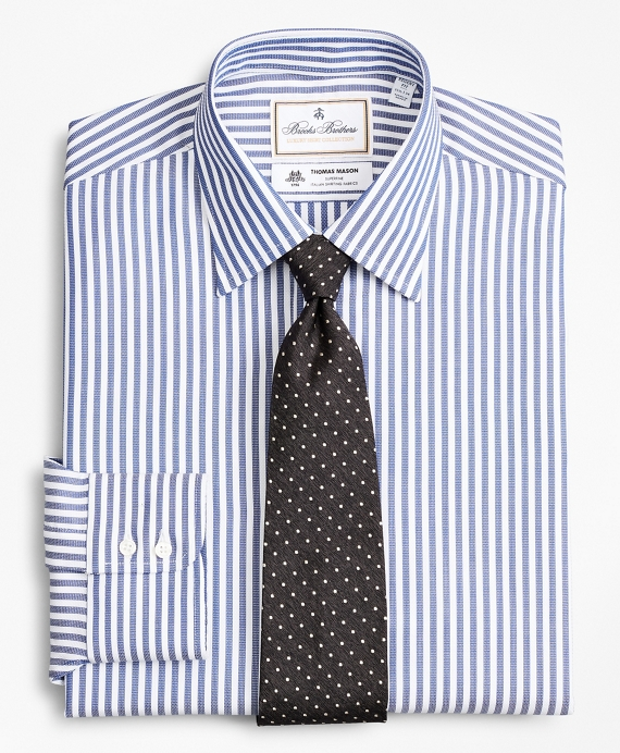 Luxury Collection Regent Fitted Dress Shirt, Franklin Spread Collar Bengal Stripe Blue