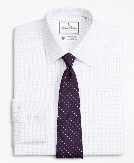 Luxury Collection Regent Fitted Dress Shirt, Franklin Spread Collar Fine Windowpane White