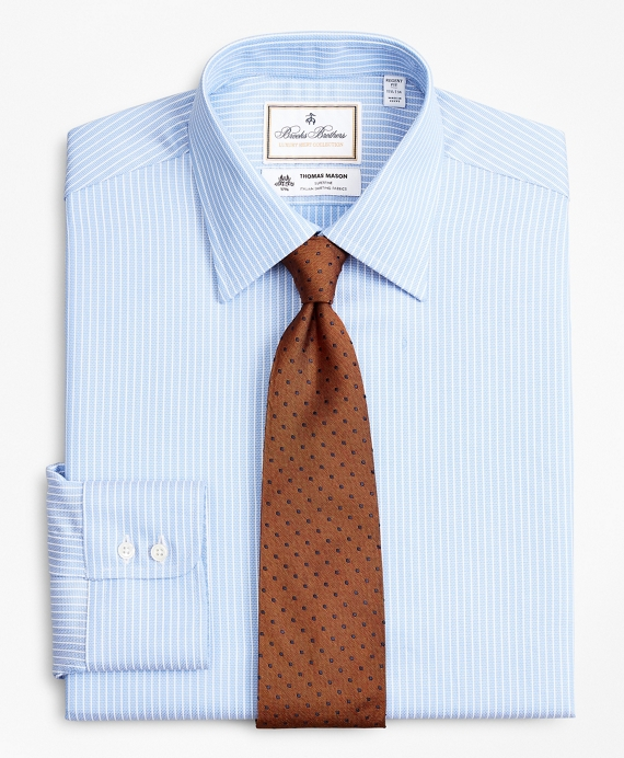 Luxury Collection Regent Fitted Dress Shirt, Franklin Spread Collar Ground Stripe Blue