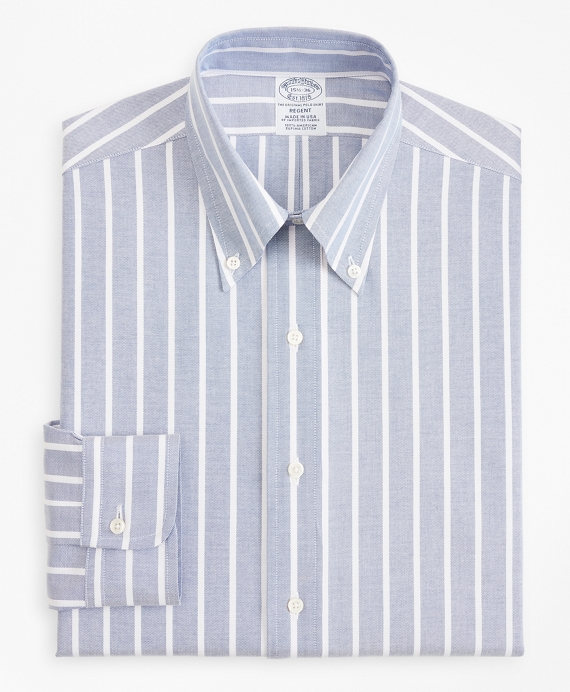 Original Polo® Button-Down Oxford Regent Fitted Dress Shirt, Wide Stripe Blue