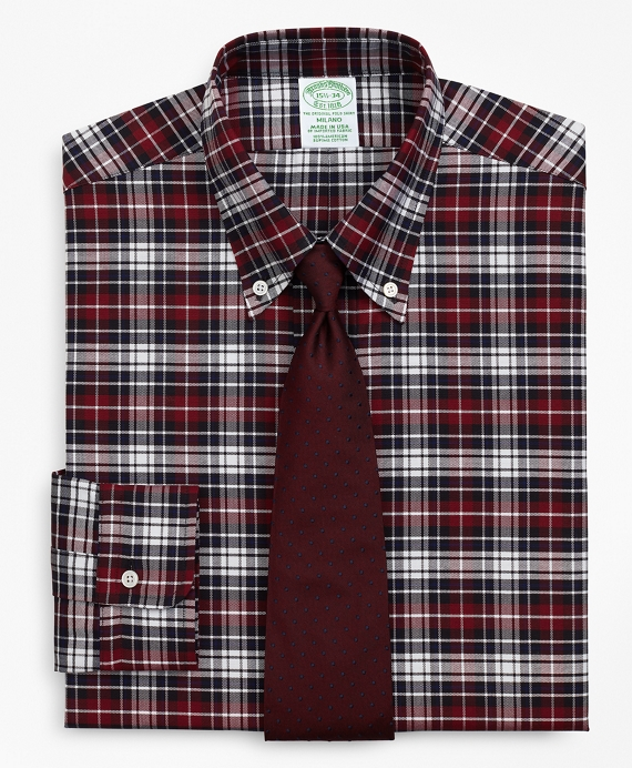 Original Polo® Button-Down Oxford Milano Slim-Fit Dress Shirt, Plaid Wine