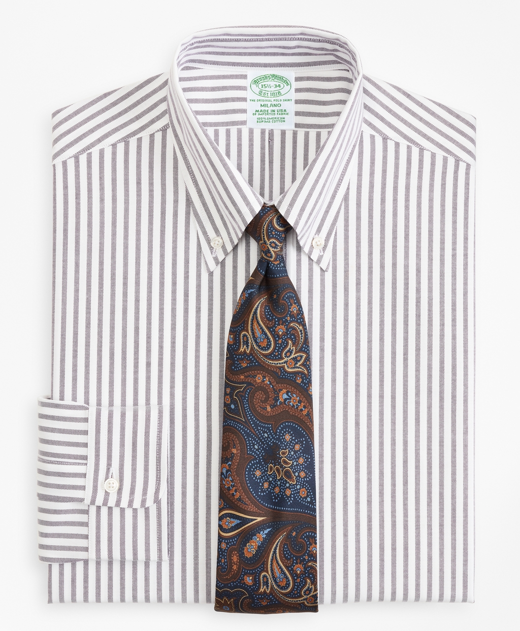 1920s Style Mens Shirts | Peaky Blinders Shirts and Collars Brooks Brothers Mens Original Polo Button-Down Oxford Extra Slim Slim-Fit Dress Shirt Stripe $140.00 AT vintagedancer.com