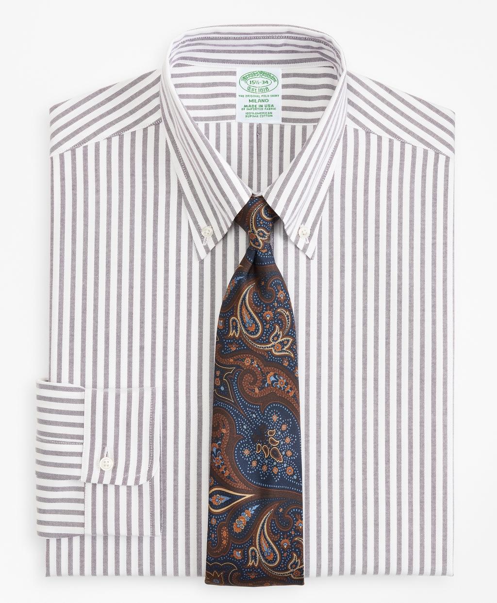 Edwardian Men's Shirts & Sweaters Brooks Brothers Mens Original Polo Button-Down Oxford Extra Slim Slim-Fit Dress Shirt Stripe $140.00 AT vintagedancer.com