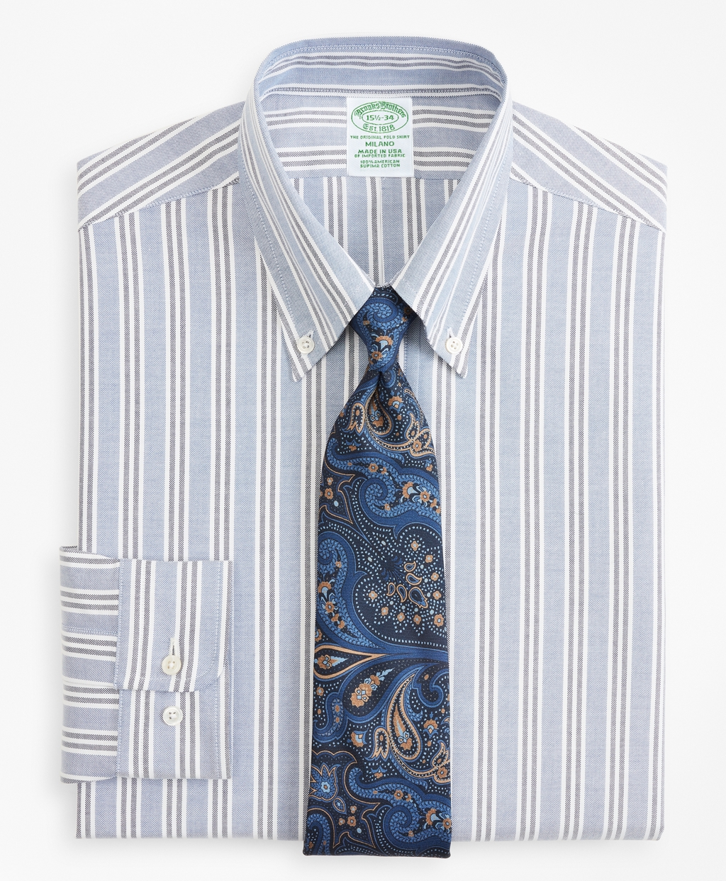 Edwardian Men's Shirts & Sweaters Brooks Brothers Mens Original Polo Button-Down Oxford Extra Slim Slim-Fit Dress Shirt Triple Stripe $140.00 AT vintagedancer.com