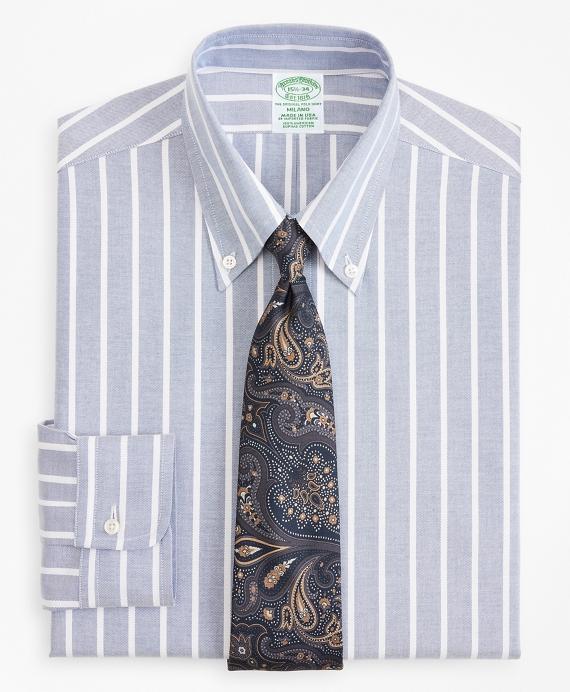 Original Polo® Button-Down Oxford Milano Slim-Fit Dress Shirt, Wide Stripe Blue