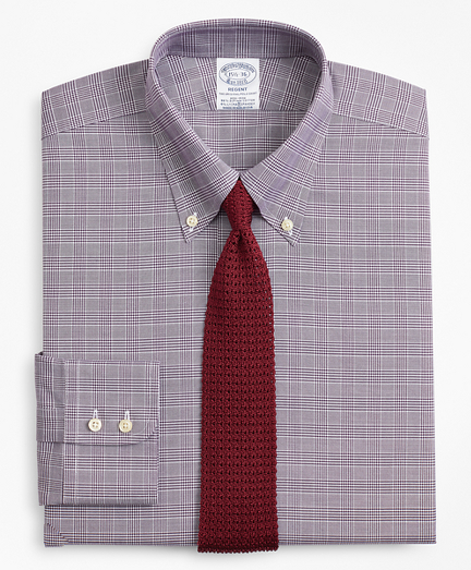 Regent Fitted Dress Shirt, Non-Iron Royal Oxford Glen Plaid