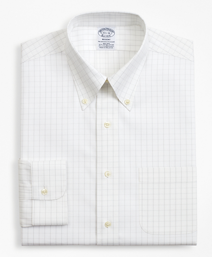 Stretch Regent Fitted Dress Shirt, Non-Iron Windowpane