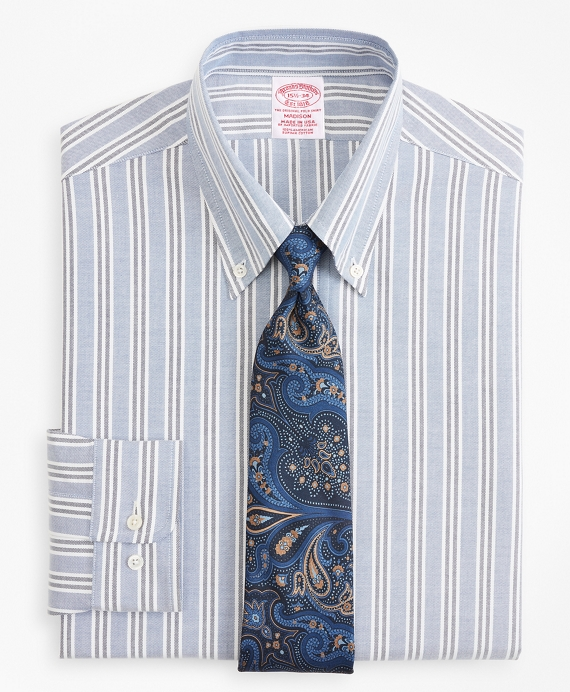 Original Polo® Button-Down Oxford Madison Relaxed-Fit Dress Shirt, Triple Stripe Blue