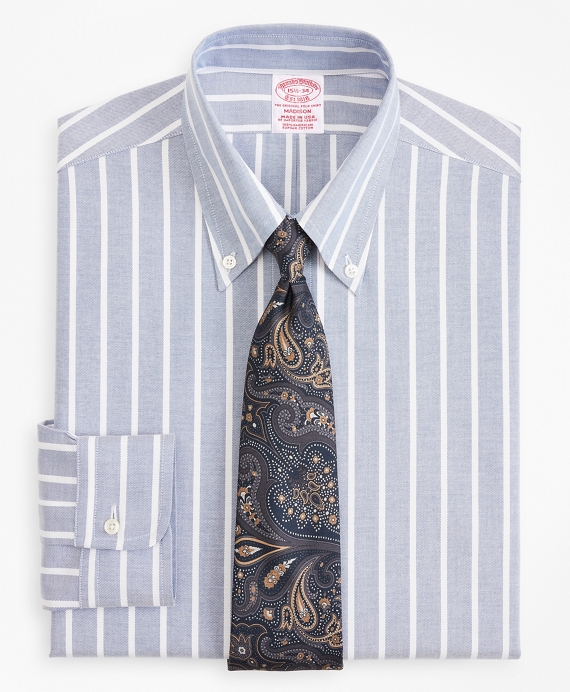 Original Polo® Button-Down Oxford Madison Relaxed-Fit Dress Shirt, Wide Stripe Blue