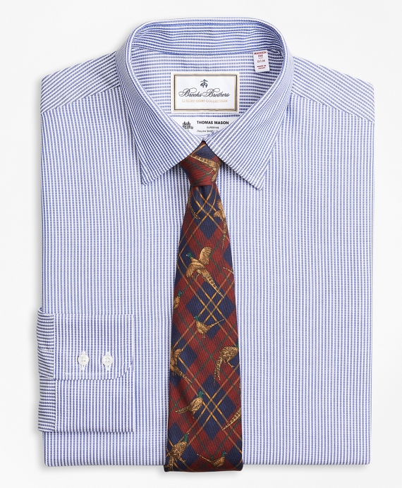Luxury Collection Madison Relaxed-Fit Dress Shirt, Franklin Spread Collar Track Stripe Blue