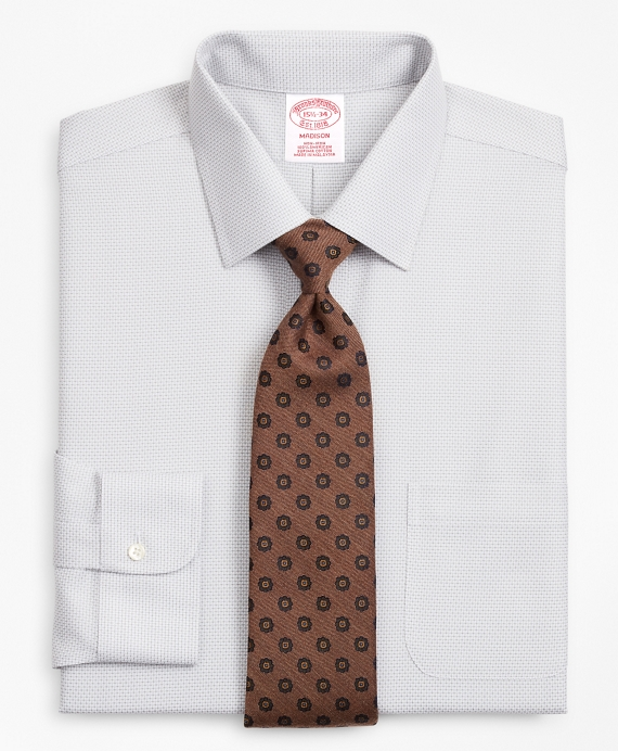 Madison Relaxed-Fit Dress Shirt, Non-Iron Micro-Check Grey