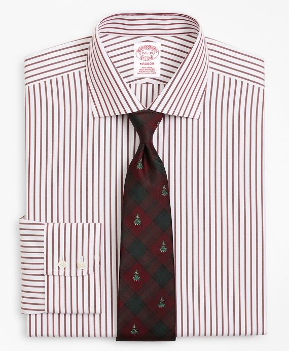 Madison Relaxed-Fit Dress Shirt, Non-Iron Stripe Wine