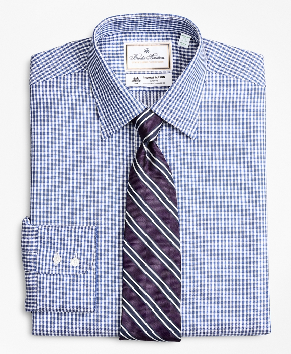 Luxury Collection Milano Slim-Fit Dress Shirt, Franklin Spread Collar Fine Gingham Blue