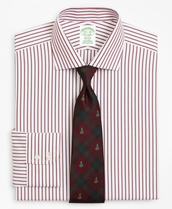 Milano Slim-Fit Dress Shirt, Non-Iron Stripe Wine