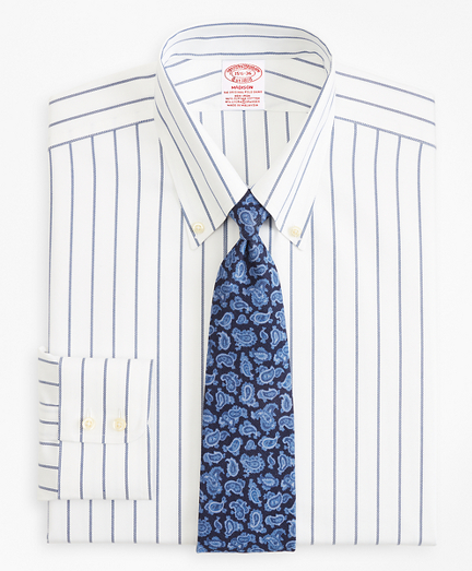 Madison Classic-Fit Dress Shirt, Non-Iron Royal Oxford Stripe