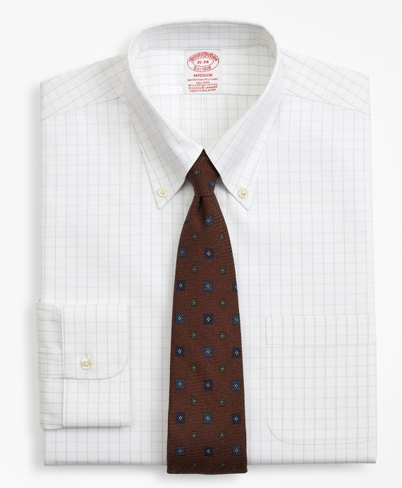 Stretch Madison Classic-Fit Dress Shirt, Non-Iron Windowpane Grey