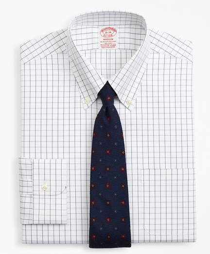 Stretch Madison Relaxed-Fit Dress Shirt, Non-Iron Windowpane