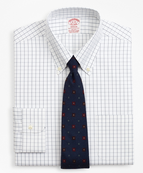 Stretch Madison Classic-Fit Dress Shirt, Non-Iron Windowpane Sodalite