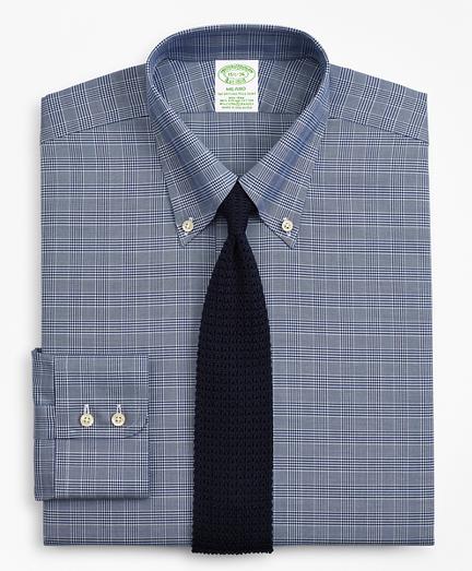 Milano Slim-Fit Dress Shirt, Non-Iron Royal Oxford Glen Plaid