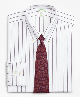 Milano Slim-Fit Dress Shirt, Non-Iron Royal Oxford Stripe